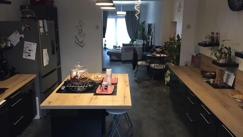 Cuisine, salle à manger et salon