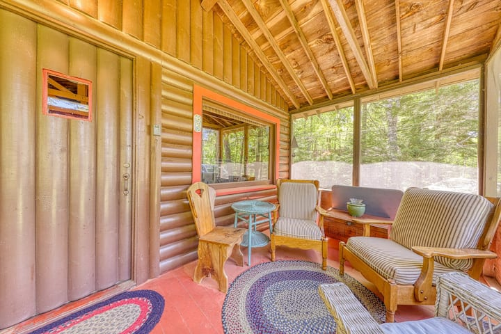 Vintage, log cabin in the woods w/ beach club access (about a mile away)!
