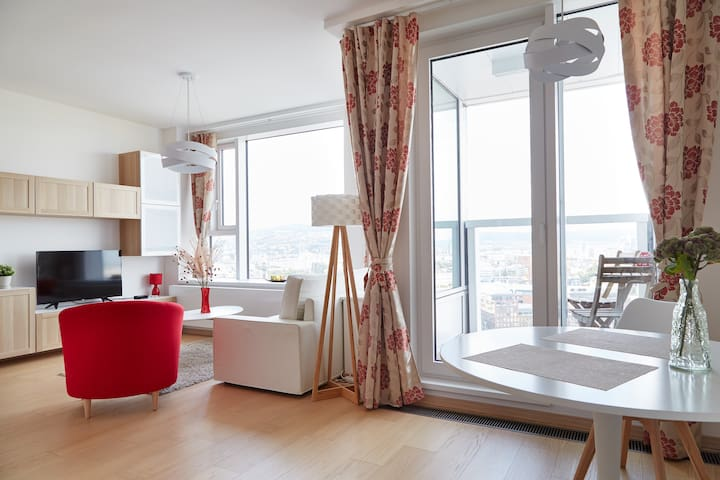 Modern designed apartment with breathtaking view