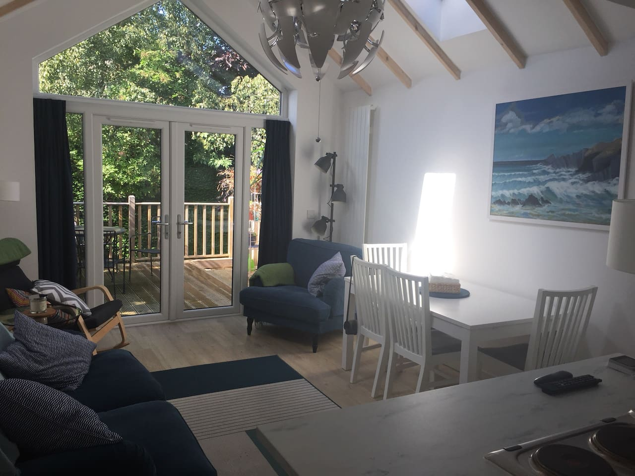 Sitting room looking out to the patio/decking