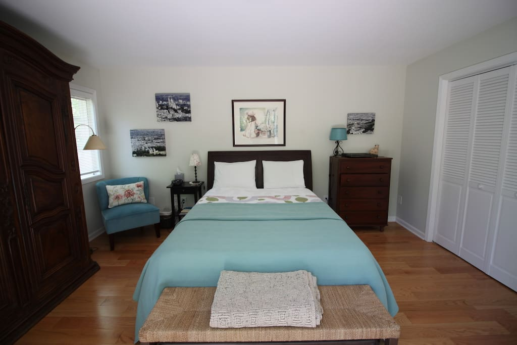 The bedroom has a roomy closet and a dresser where to store your clothes and other belongings