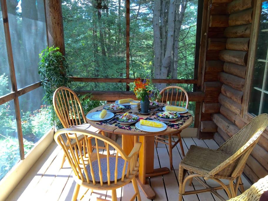 Impromptu screen- porch dining