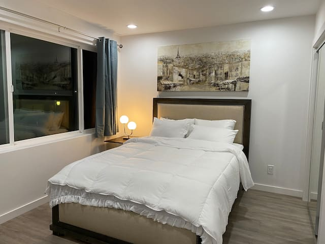 Queen size bed, bedroom #1, night stand readings lamp, mirror closet and 55 inches, street view.
