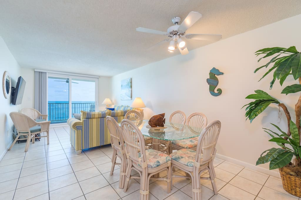 When you're ready to relax indoors, you'll enjoy the bright living room that overlooks the beach