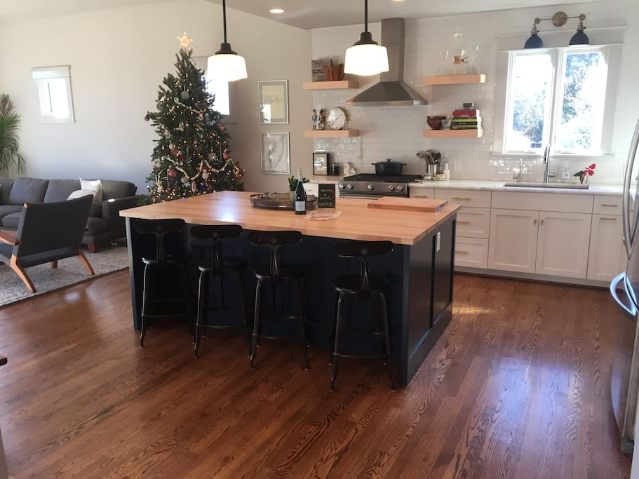 Our newly renovated kitchen and center island