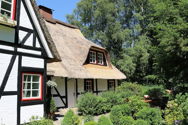 3 apartments in thatched cottage with outdoor sauna, large garden, playground