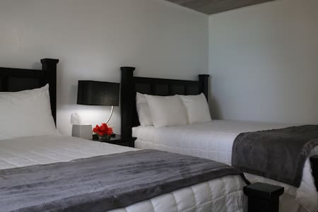 Our double rooms feature 2 queen beds