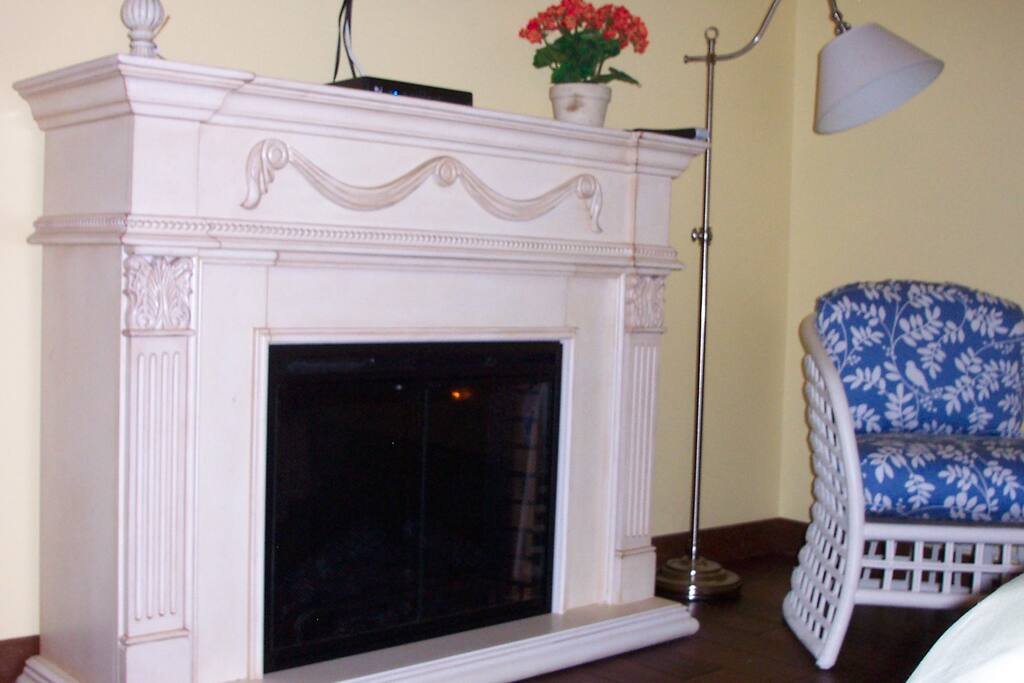 Fireplace will keep you warm on those chilly nights!