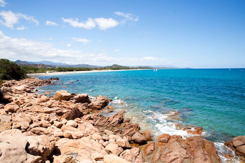 spiaggia lunghissima  e mare cristallino..