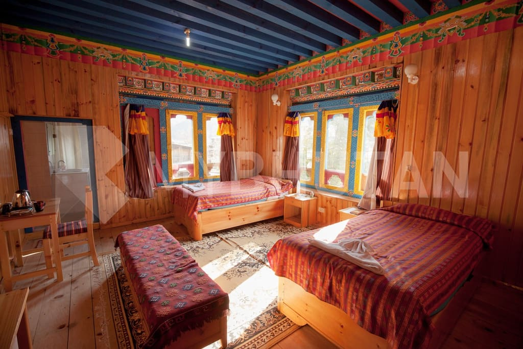 Light pours in at a guest house in Bumthang