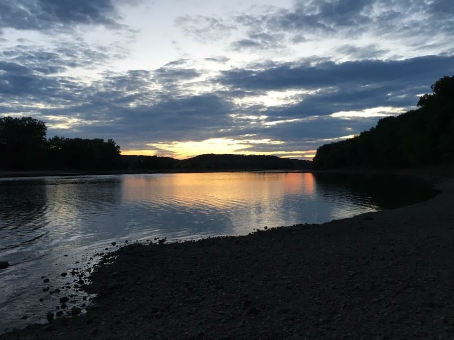 Riverbank at night