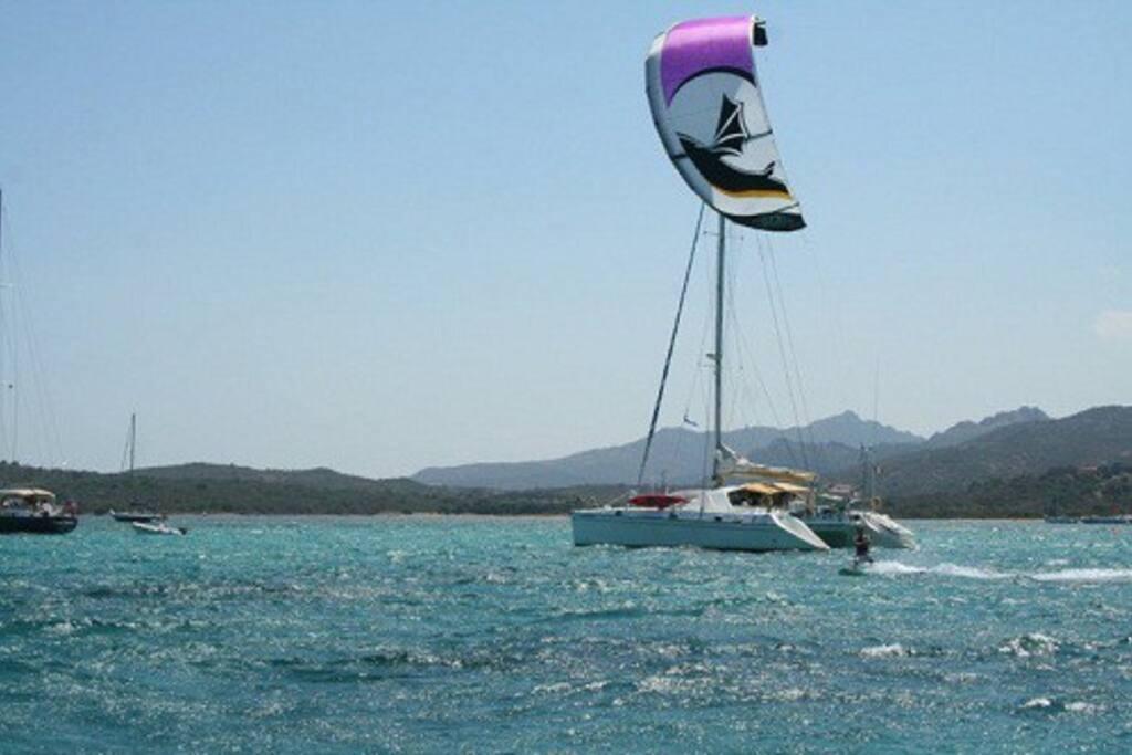 uscita in kite direttamente dal   catamarano