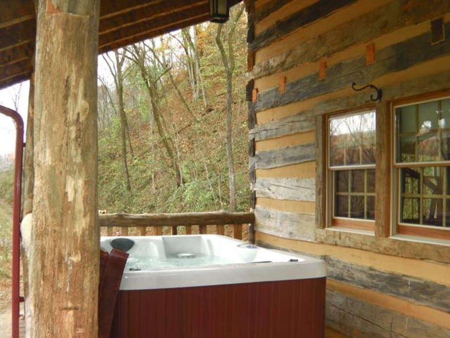 Enjoy your private hot tub on the front porch