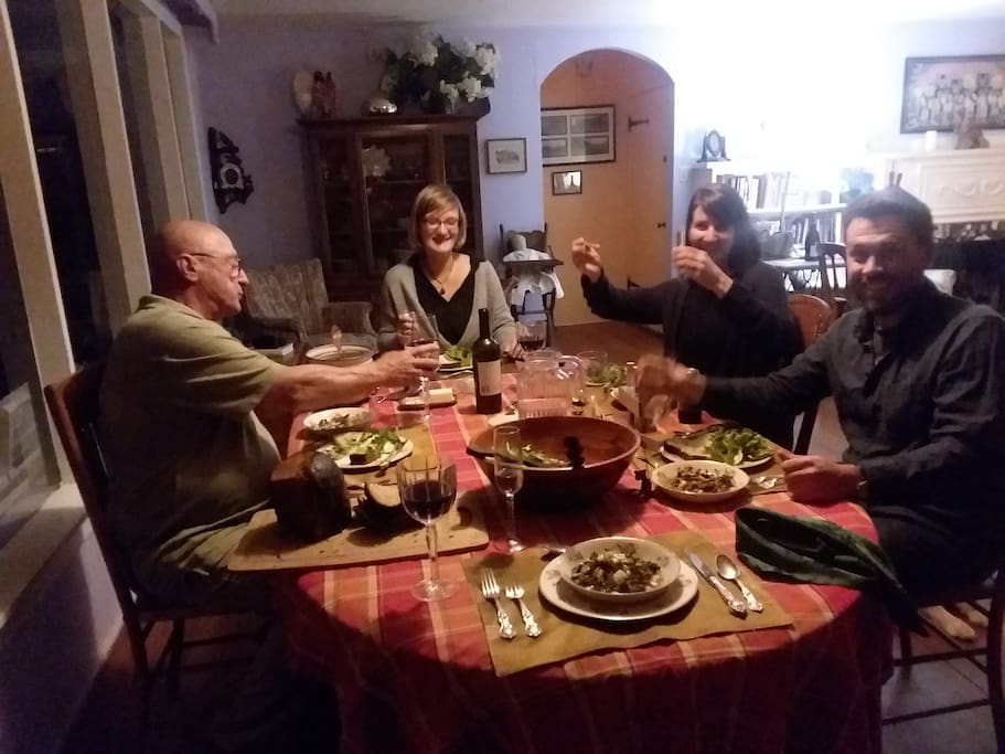 Dinner with guests from France and San Francisco, great meal and great conversation. You are welcome.