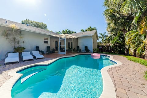 Great house with heated pool, 5 min to the ocean