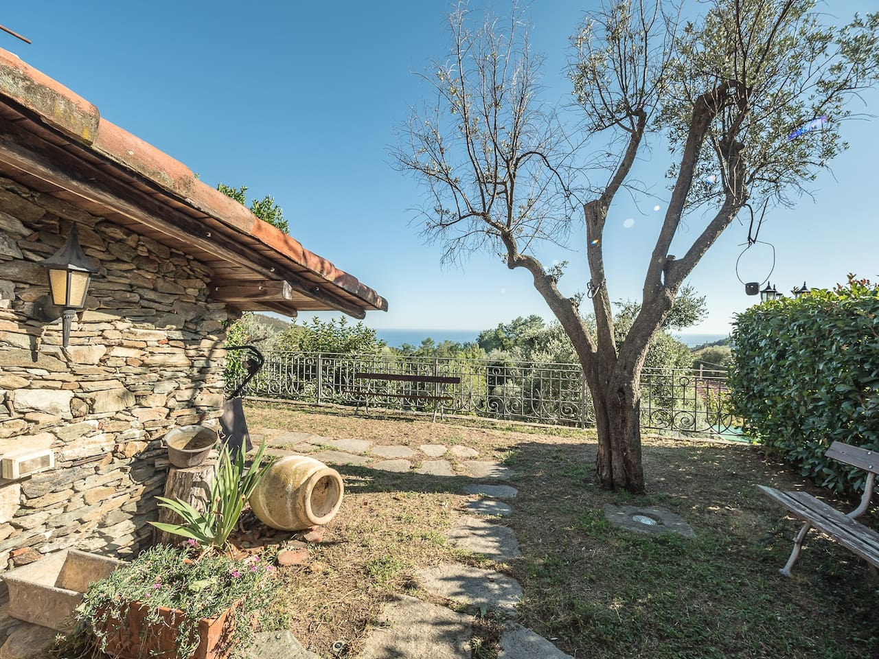 villa with sea view, garden and olive grove