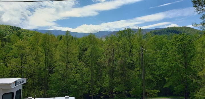 """Smoky Mountain View 2""  Views and a fireplace"