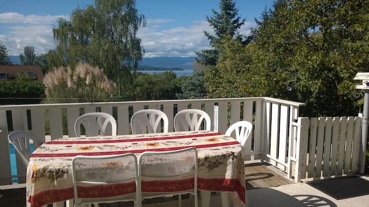 Magnifique vue  sur Lac Léman près de Genève 3pces