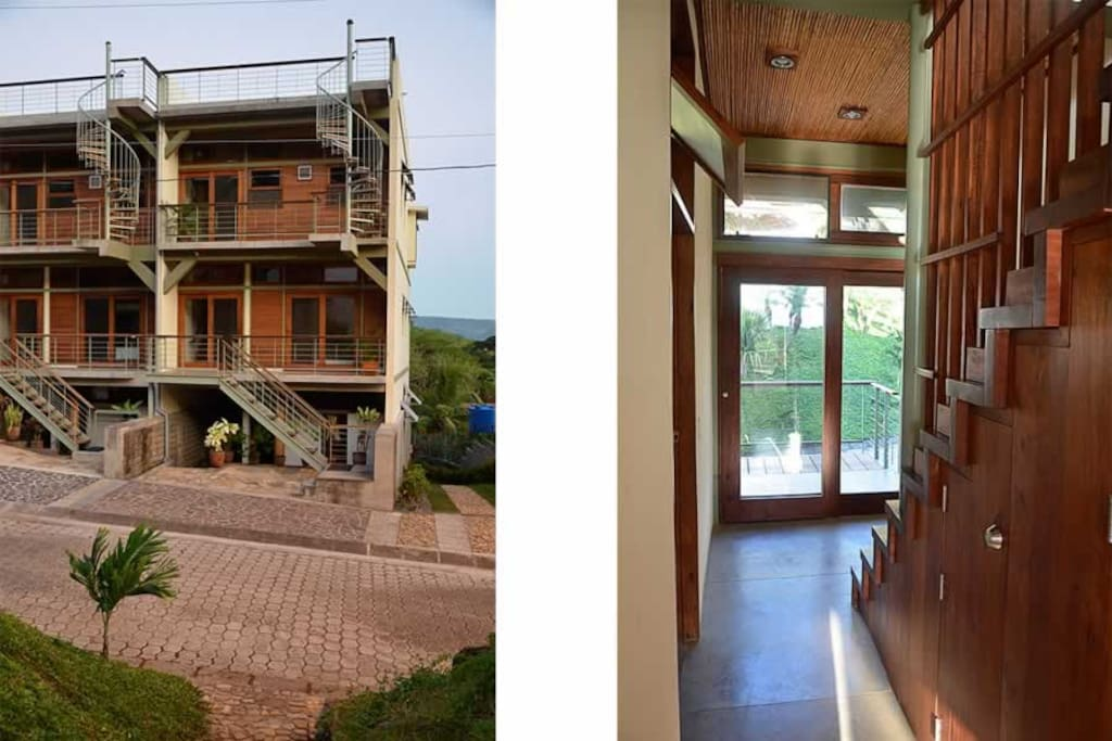 Top two floors with a rooftop deck, and a view looking out the front door