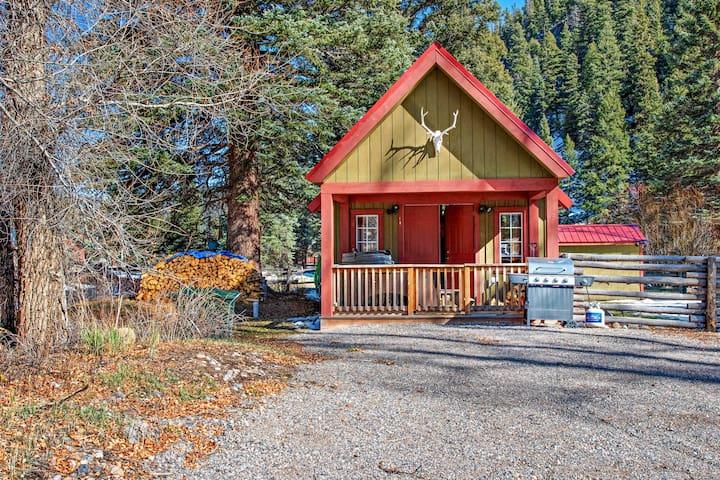 Riverside cabin w/private hot tub, wood stove, deck & river views