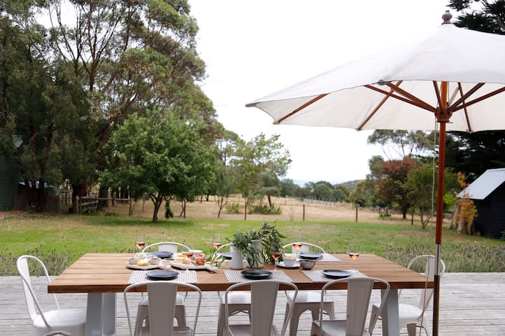 Outdoor table to seat 8 on the huge deck overlooking the paddocks