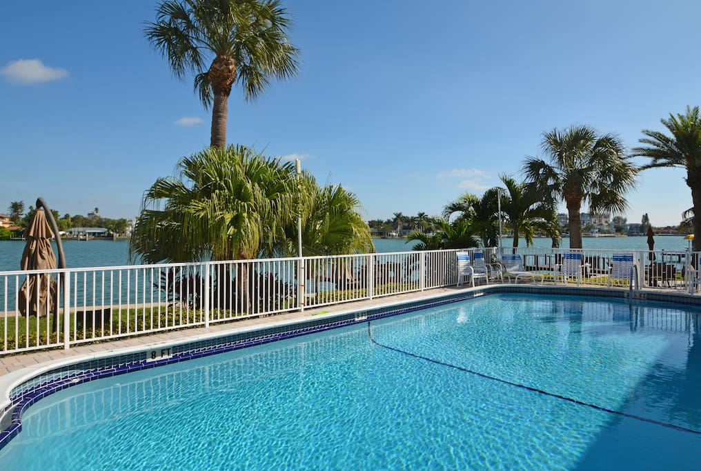 Heated pool looking out at Boca Ciega Bay.