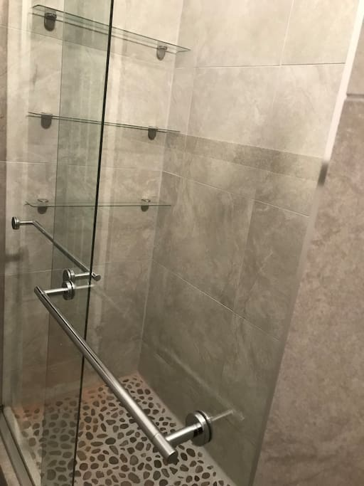 fully gutted stand up shower.