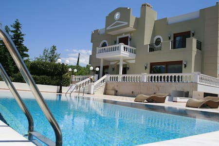 Palm Villa with swimming pool next to the beach - Limenas Chersonisou