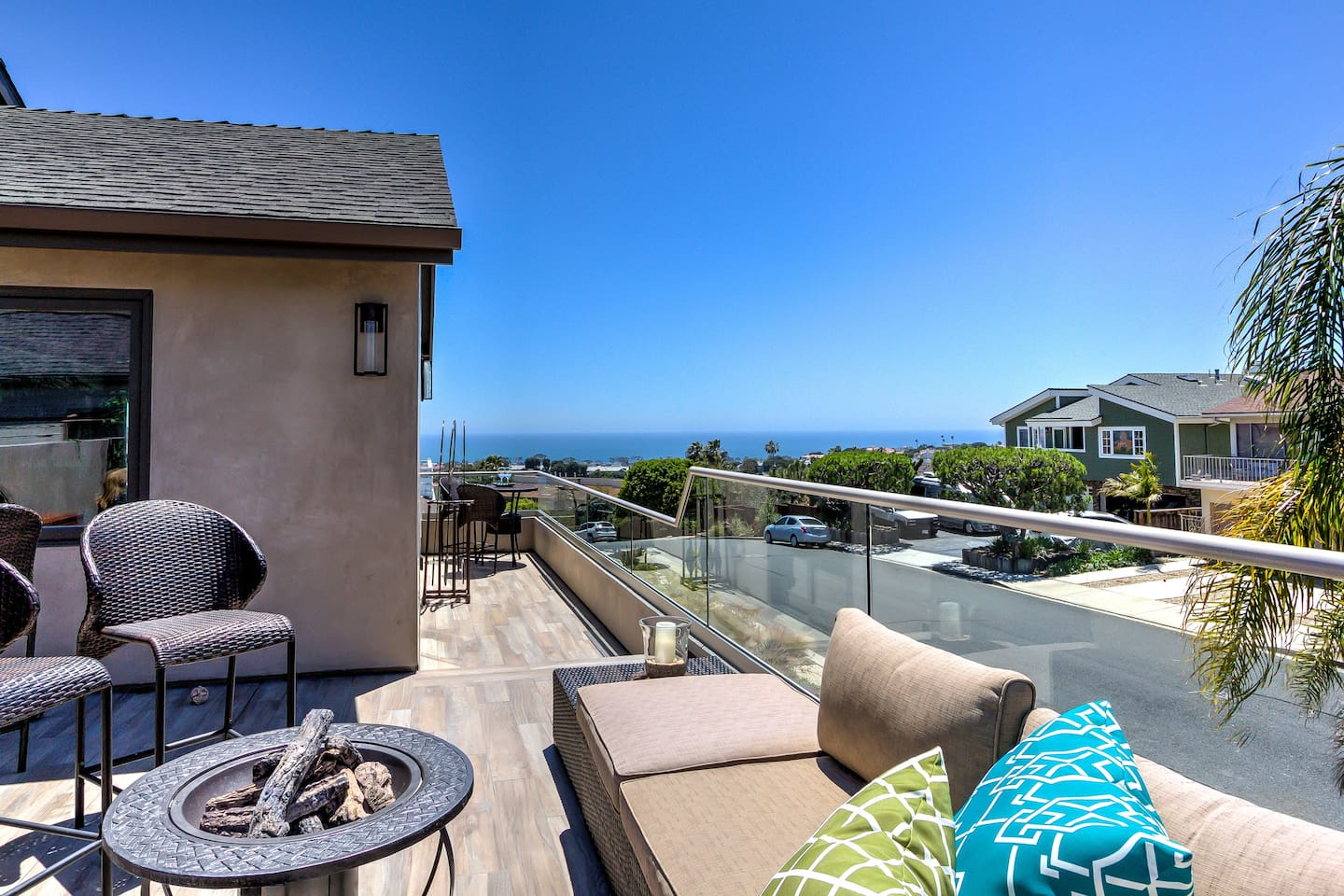 Ocean view deck has sectional seating with a fire pit for evenings of Relaxation!