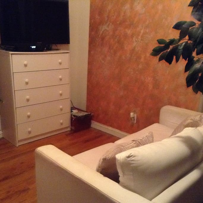 The tiny, but uber comfy living room space