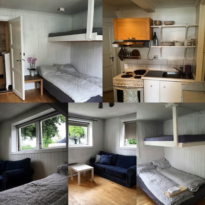 There are two airbnb rooms that share common  kitchen and bathroom.