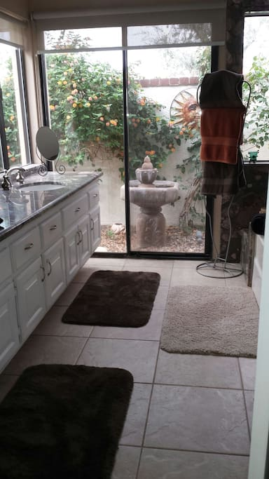 Beautiful attached bathroom with shower and Roman tub with separate entrance