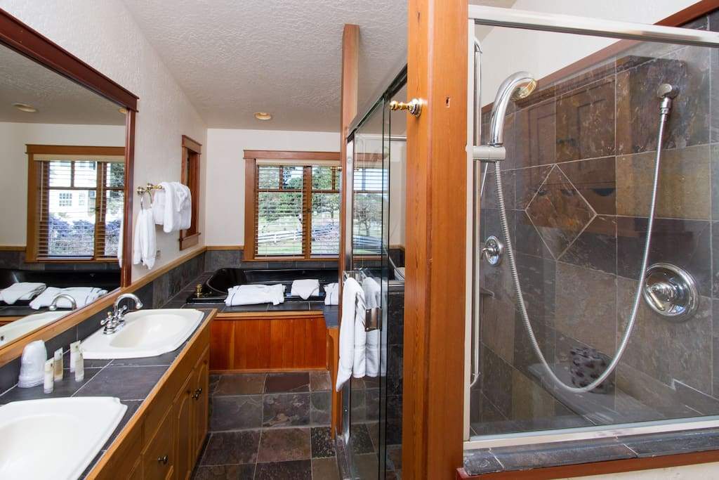 The 2-person shower and 2-person Jacuzzi.