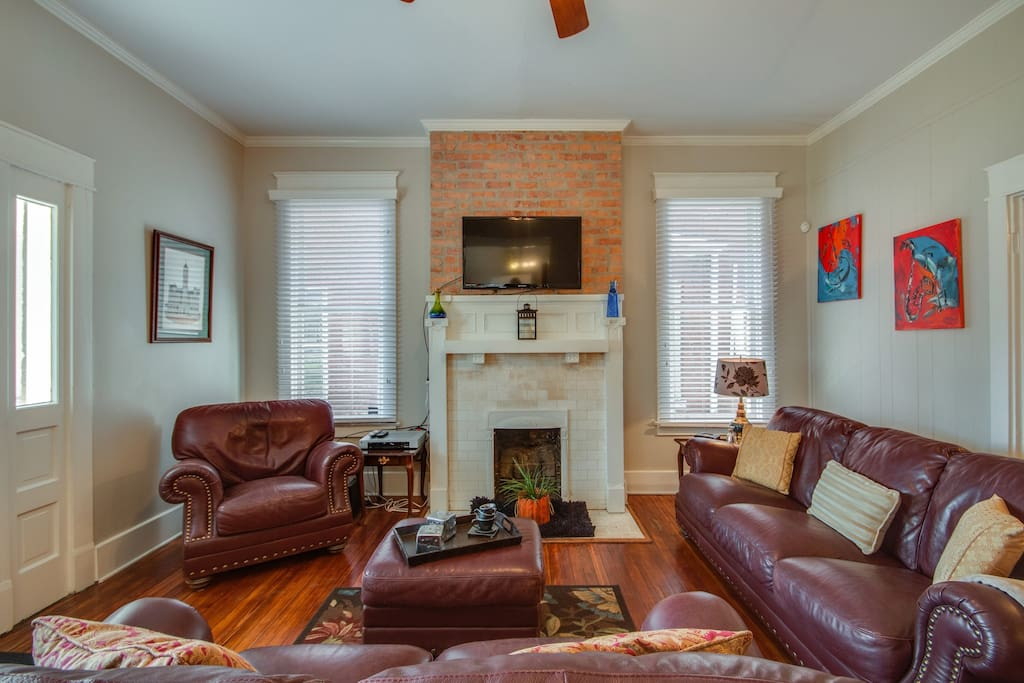 Leather furniture in the living room is extra comfy and inviting.