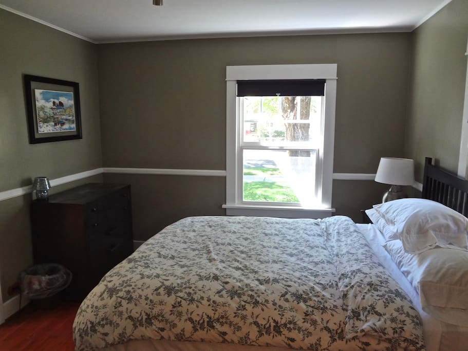 Bedroom 1: Queen bed with memory foam topper and fine linens