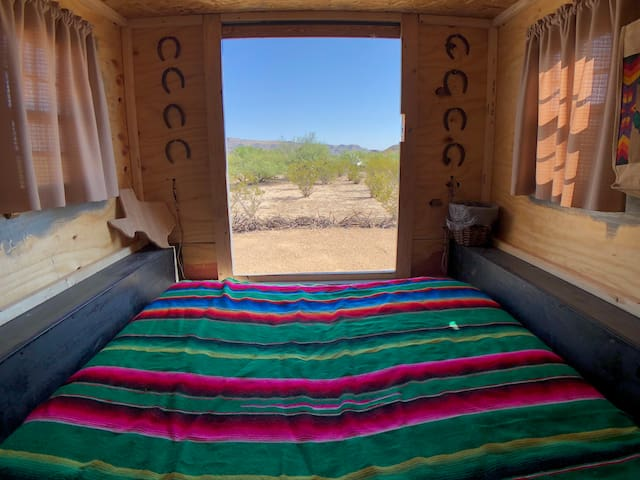 The full size mattress in the Prickly Pear Palace can provide comfortable sleeping quarters for a couple or two friends that don't mind close quarters.