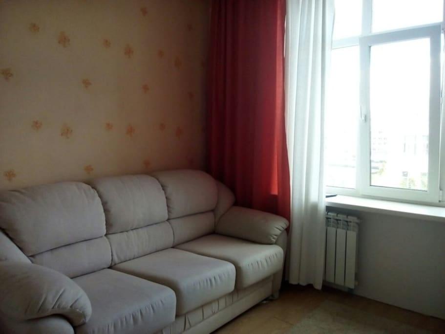 Спальня: диван с пружинным матрасом, с телевизором и полированной стенкой.