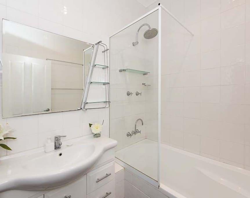 Bathroom 1- Bath, Shower and sink