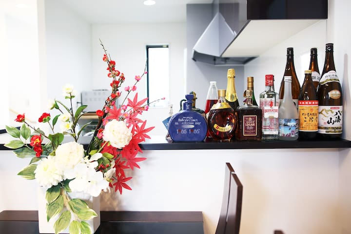 looking for kitchen space with a lot of Japanease sake and Whiskey.