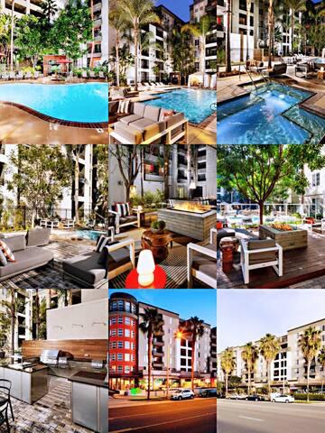 SM/convenient 1BR Apartment +Parking+pools+Spa+gym