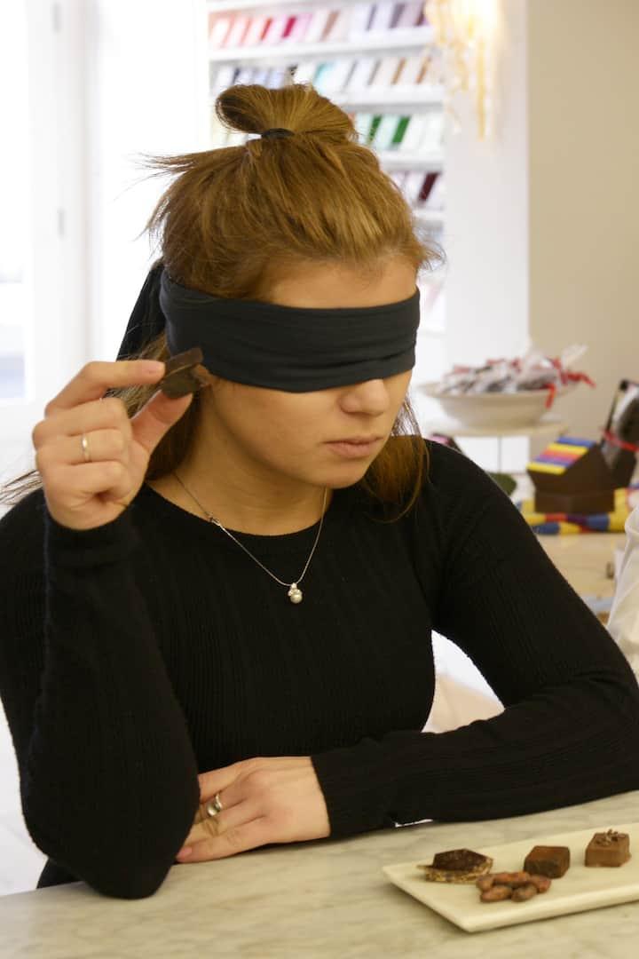 Blindfolded chocolate tasting