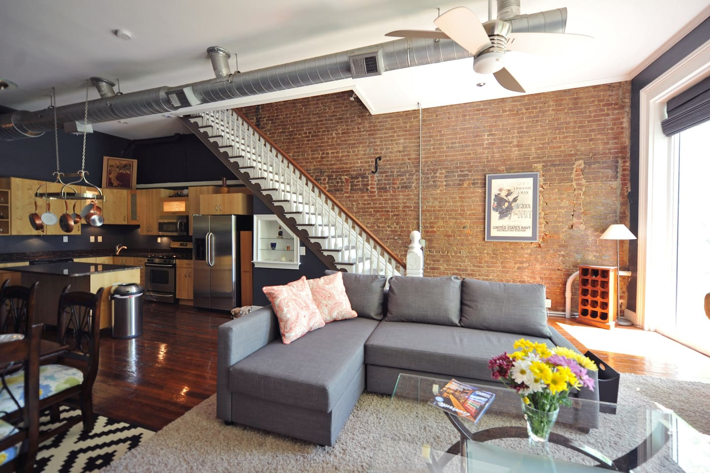 150yr old brick, hand carved staircase and wood floors