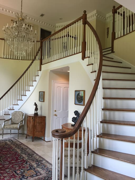 Double staircase foyer.