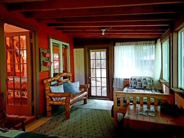 single bed on porch