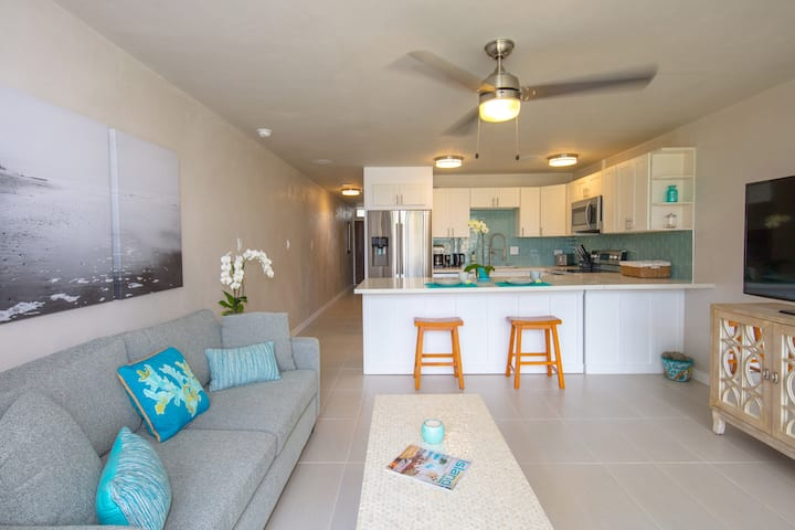 NEW N. Shore Beach Chic condo, AC near Mamas Beach