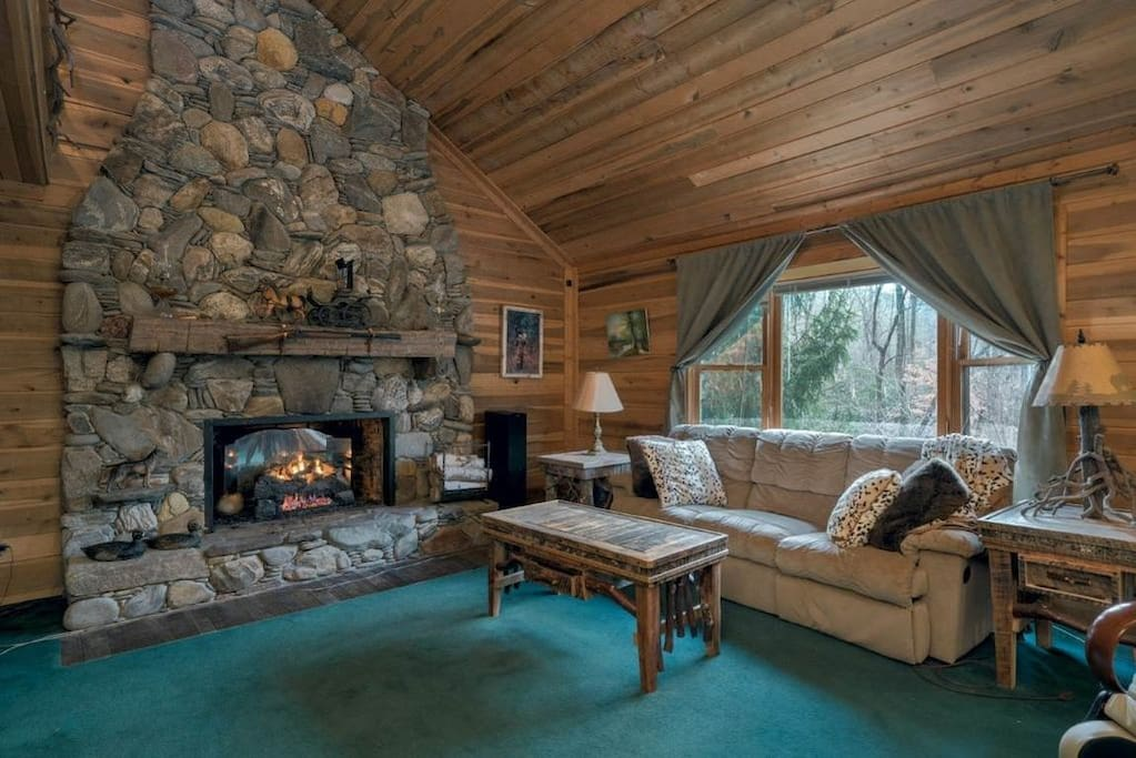River rock Fireplace with propane logs