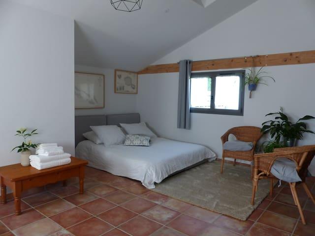 La chambre est spacieuse (22m2) et lumineuse.