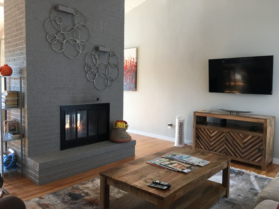 Relax by the 2-sided fireplace