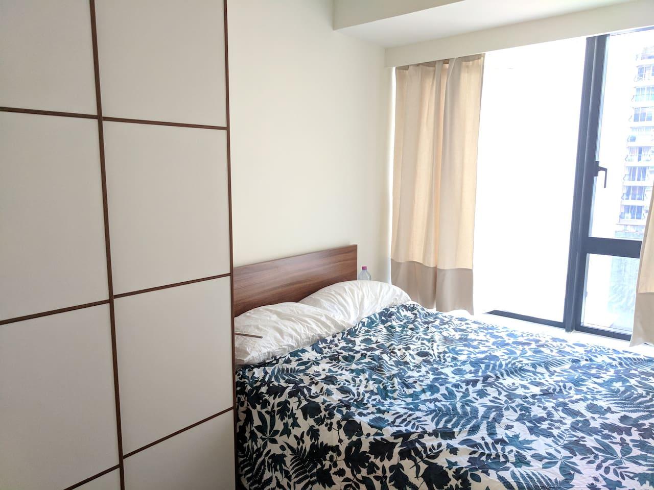 Bedroom includes a wardrobe