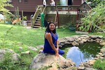 Backyard with fish pond.